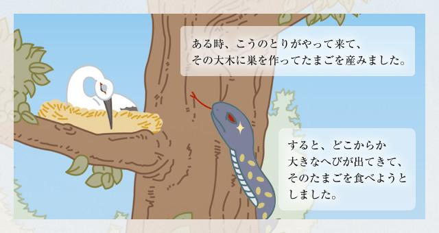 ある時、こうのとりがやって来て、その大木に巣を作ってたまごを産みました。 すると、どこからか大きなへびが出てきて、そのたまごを食べようとしました。